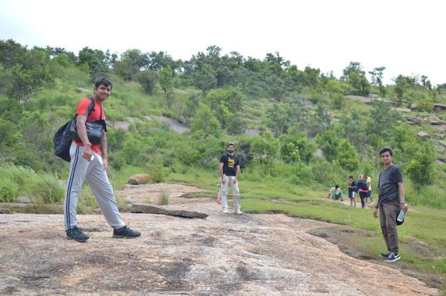 group starting again for trekking At Ramanagara