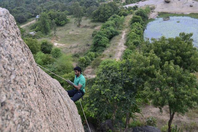 Rappelling at ramnagara india
