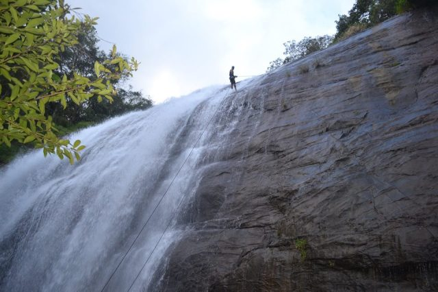 waterfall rappelling at Chelavara Falls 10