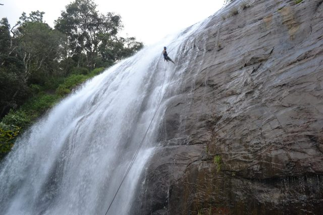 waterfall rappelling at Chelavara Falls 11