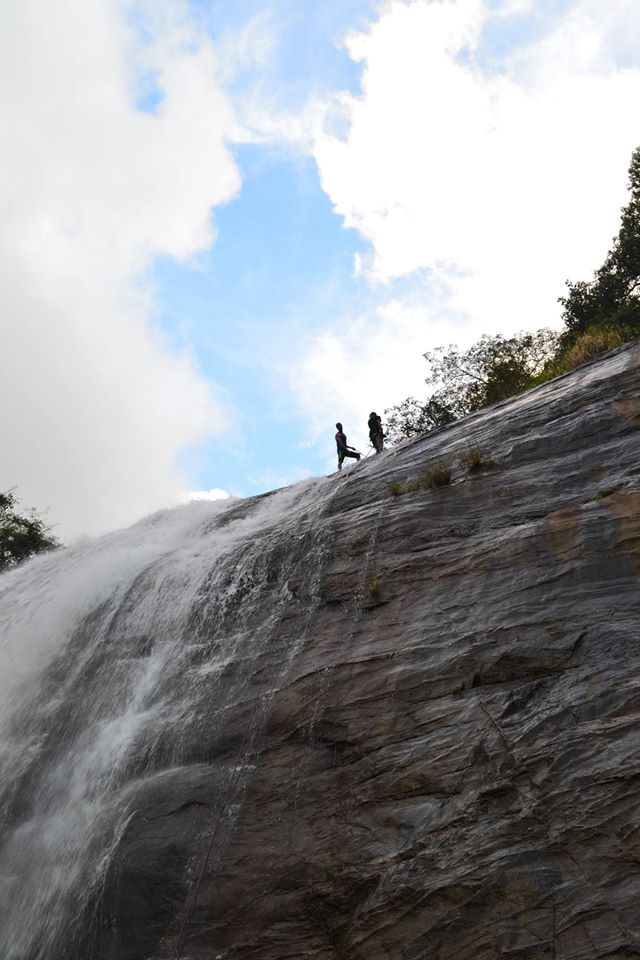 waterfall rappelling at Chelavara Falls 13