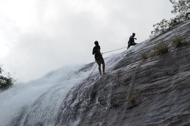 waterfall rappelling at Chelavara Falls 25