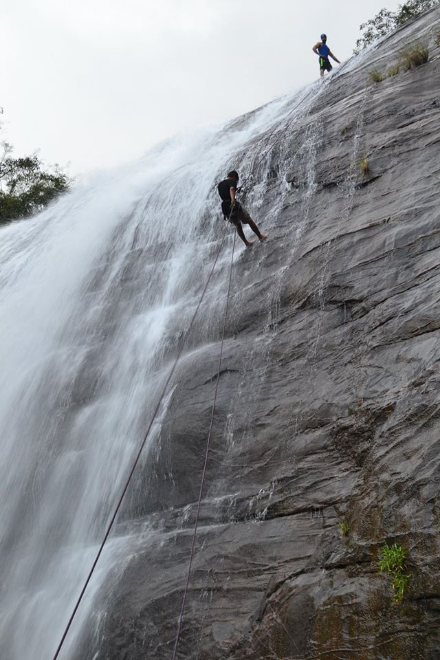 waterfall rappelling at Chelavara Falls 26