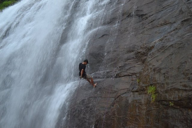 waterfall rappelling at Chelavara Falls 27