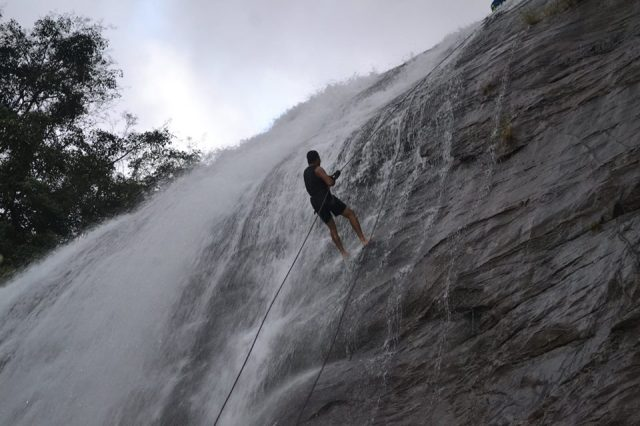 waterfall rappelling at Chelavara Falls 28