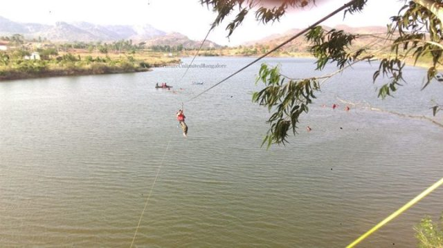 zipline on lake