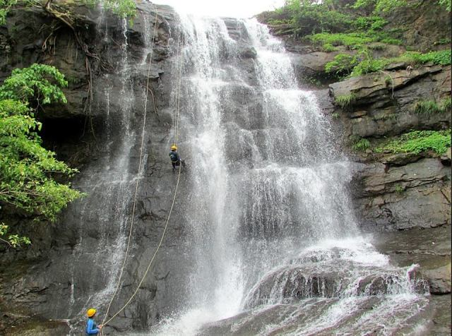 Waterfall rappelling at Bhekare Bhivpuri india