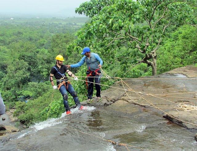 Waterfall rappelling Bhekare Bhivpuri