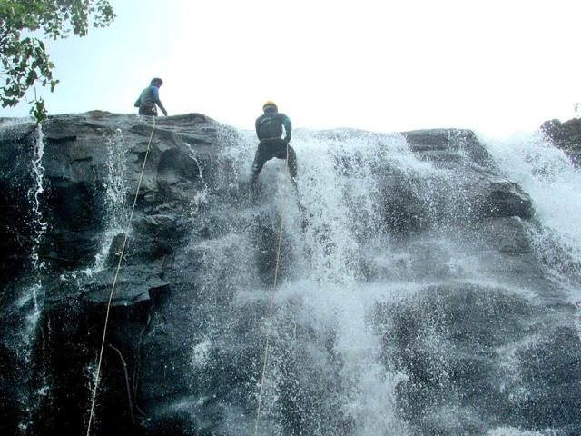 Waterfall rappelling near mumbai